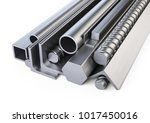 steel profiles and pipes heap.... | Shutterstock . vector #1017450016