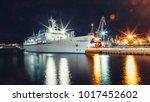 white cruiser casts glare on...   Shutterstock . vector #1017452602