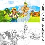 cartoon scene with happy king... | Shutterstock . vector #1017463852
