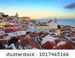 panorama of alfama  the oldest... | Shutterstock . vector #1017465166