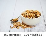 Bowl With Granola  On A Old...