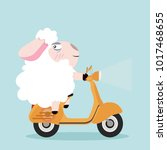 cute sheep with yellow scooter | Shutterstock .eps vector #1017468655
