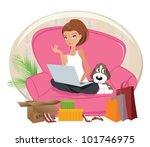 happy woman shopping online ... | Shutterstock .eps vector #101746975