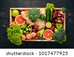 the concept of healthy food.... | Shutterstock . vector #1017477925