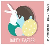 cute and colorful happy easter... | Shutterstock .eps vector #1017478306