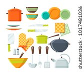 bowl  fork and other kitchen... | Shutterstock .eps vector #1017481036