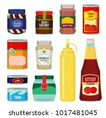illustrations of canned goods.... | Shutterstock .eps vector #1017481045