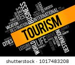 tourism word cloud collage ... | Shutterstock .eps vector #1017483208
