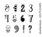 funny hand drawn numbers.... | Shutterstock .eps vector #1017511405