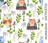 watercolor seamless pattern... | Shutterstock . vector #1017515722