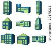 buildings icon set in 3d blue... | Shutterstock . vector #10175218