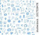 hand drawn social media ... | Shutterstock .eps vector #1017528478