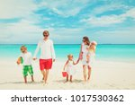 happy family with three kids... | Shutterstock . vector #1017530362