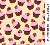 cupcakes with pink cream and... | Shutterstock .eps vector #1017535675