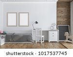 modern nursery interior with a... | Shutterstock . vector #1017537745