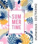 summer hawaiian tropical poster ... | Shutterstock .eps vector #1017543442