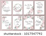 set of card with flower rose ... | Shutterstock .eps vector #1017547792