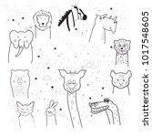 animal cartoon set isolated on... | Shutterstock .eps vector #1017548605