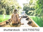 young woman traveler on... | Shutterstock . vector #1017550702