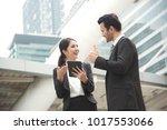 businessman and women partners... | Shutterstock . vector #1017553066