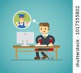 study online flat diploma... | Shutterstock .eps vector #1017555802