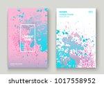 pastel pink cyan explosion... | Shutterstock .eps vector #1017558952