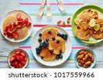 top view of assorted pancakes... | Shutterstock . vector #1017559966