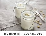 yogurt with pumpkin seeds in... | Shutterstock . vector #1017567058