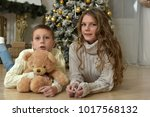 sister of a teenager and boy... | Shutterstock . vector #1017568132