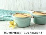 ramekins with tasty vanilla...   Shutterstock . vector #1017568945