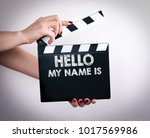 hello my name is. female hands... | Shutterstock . vector #1017569986