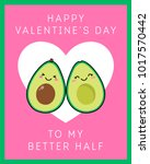 cute avocado couple cartoon... | Shutterstock .eps vector #1017570442