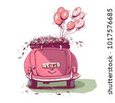 wedding car with balloons ... | Shutterstock .eps vector #1017576685
