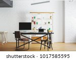 corporate loft brick interior... | Shutterstock . vector #1017585595