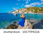 beautiful young woman tourist... | Shutterstock . vector #1017594226