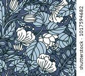 vector floral seamless pattern... | Shutterstock .eps vector #1017594682