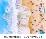 tourists at the beach bird's...   Shutterstock . vector #1017595735
