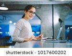 portrait of smiling female... | Shutterstock . vector #1017600202