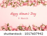 women's day greeting message... | Shutterstock . vector #1017607942