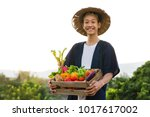happy asia farmer smiling while ... | Shutterstock . vector #1017617002