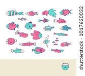 set of cute hand drawn fish ... | Shutterstock .eps vector #1017620032