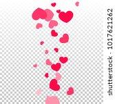 pink hearts random falling on...   Shutterstock .eps vector #1017621262