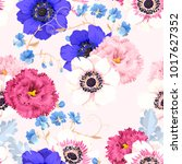 seamless pattern with eustoma... | Shutterstock .eps vector #1017627352