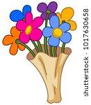 cartoon flower bouquet   Shutterstock .eps vector #1017630658