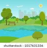 landscape in city park . park... | Shutterstock .eps vector #1017631336