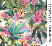 Cannabis Leaves Pattern In A...
