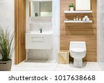 modern spacious bathroom with... | Shutterstock . vector #1017638668