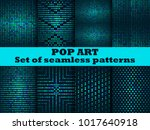 halftone seamless pattern set.... | Shutterstock .eps vector #1017640918