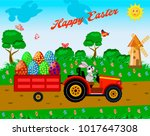 rabbit on a tractor with a cart ... | Shutterstock .eps vector #1017647308