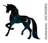 silhouette of unicorn with... | Shutterstock .eps vector #1017652852